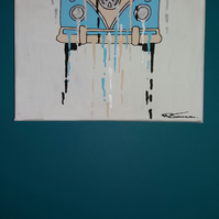 Original drippy VW T1 splitscreen camper painting on canvas