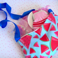 Girls handbag with ribbon shoulder strap and accessories watermelon design
