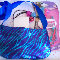 Girls bag bright blue bag with ribbon shoulder strap and accessories