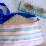 Girls bag stripe bag with ribbon shoulder strap and accessories