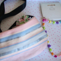 Girls bag stripey bag with ribbon shoulder strap and accessories