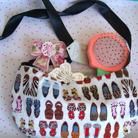 Girls bag shoe design bag with ribbon shoulder strap and accessories