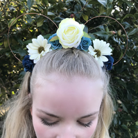Make it Blue Rose Daisy Disney Floral Wire Mickey Mouse Ear Headband Handcrafted