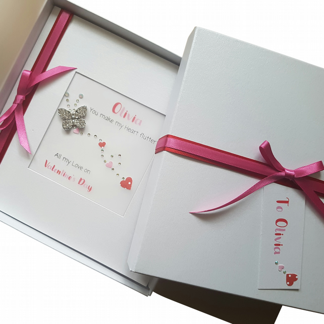 Valentine's Day Card Personalised Handmade LUXURY Boxed with Diamante Butterfly