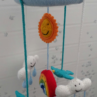 Hand Made Knitted Baby Mobile. Sun, Clouds, Rainbow & Bluebirds