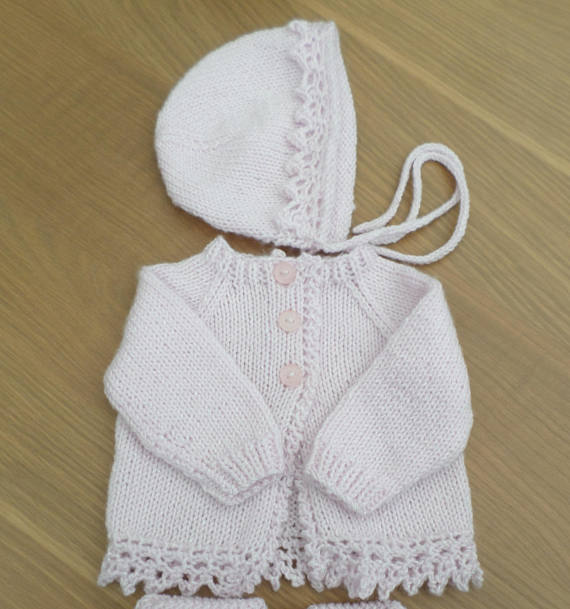 Pink Hand Knitted Girl\'s Cardigan & Bonnet ... - Folksy