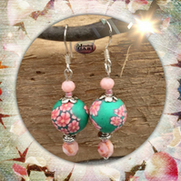 Pretty Peach and Green Floral Drop Earrings