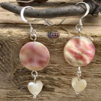 Peach Mother of Pearl Drop Earrings with Dainty Heart Dangle