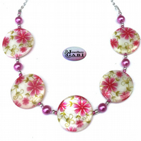 Pretty Spring Florals Necklace, Vibrant Pink & Cream Necklace, Womans Gift