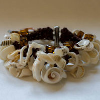 Brown hemp crochet shell bangle with square shiny beads