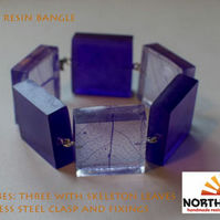 Deep purple skeleton leaf resin cube bangle