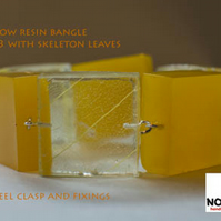 Yellow skeleton leaf and resin cube bangle