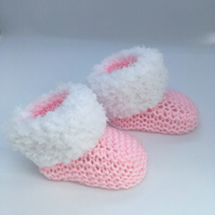 Pink Booties, Girls Baby Booties, Baby Boots, Baby Socks, Baby Bootees