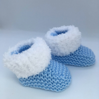 Blue Booties,Handmade Baby Booties, Baby Boots, Baby Socks, Baby Bootees