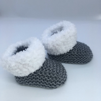 Grey Booties,Handmade Baby Booties, Baby Boots, Baby Socks, Baby Bootees