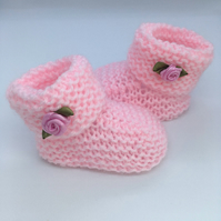 White Knitted Booties, Baby Booties, Baby Boots, Baby Socks, Baby Bootees