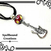 Tibetan Silver Guitar Charm With Glass Bead Pendant Necklace. N6