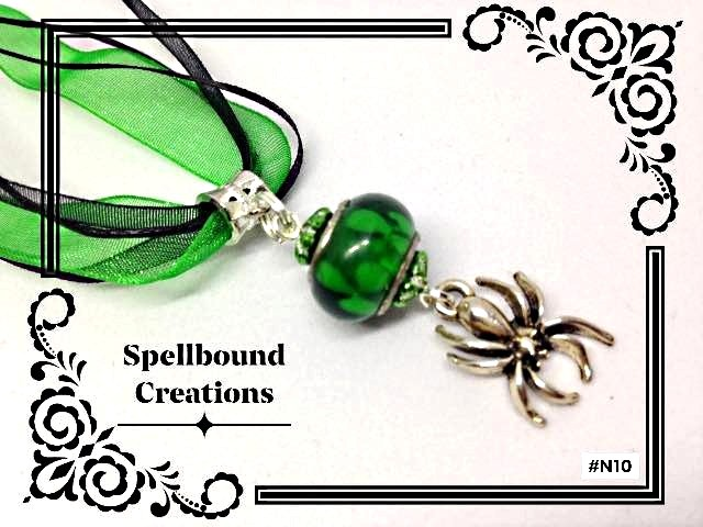 Tibetan Silver Spooky Spider Charm With Glass Bead Pendant Necklace. N10