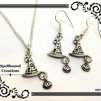 Tibetan Silver Witches Witch Hat Charm Necklace & Earring Jewellery Set 7