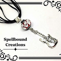 Tibetan Silver Guitar Charm With Glass Bead Pendant Necklace. N5