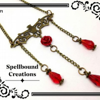 Steampunk Inspired Bat Charm With Red Rose Bronze Tone Gothic Chain Necklace. 71