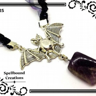 Tibetan Silver Bat Charm With Amethyst Pendant Necklace. 25