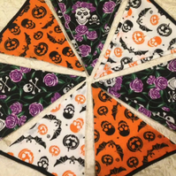 Hand Crafted Spooky Halloween Fabric Skulls Bats Bunting. 10 flags. (Large 1)