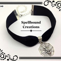 Tibetan Silver Spider Web Charm Black Velvet Spooky Gothic Choker Necklace. CH8