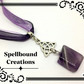 Tibetan Silver Celtic Knot Charm With Amethyst Pendant Necklace. 13