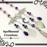 Tibetan Silver Vampire Bat, Crystal, Charms, Purple Beads Dangle Neklace. N71