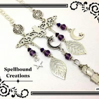 Tibetan Silver Vampire Bat Crystal Purple Beaded Moon Star Chain Necklace. N70