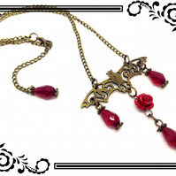 Steampunk Bronze Tone Bat Charm With Red Glass Teardrop Beads Red Rose Chain N82