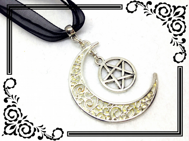 Crescent Moon & Pentagram Tibetan Silver Charm Pendant Necklace. 90