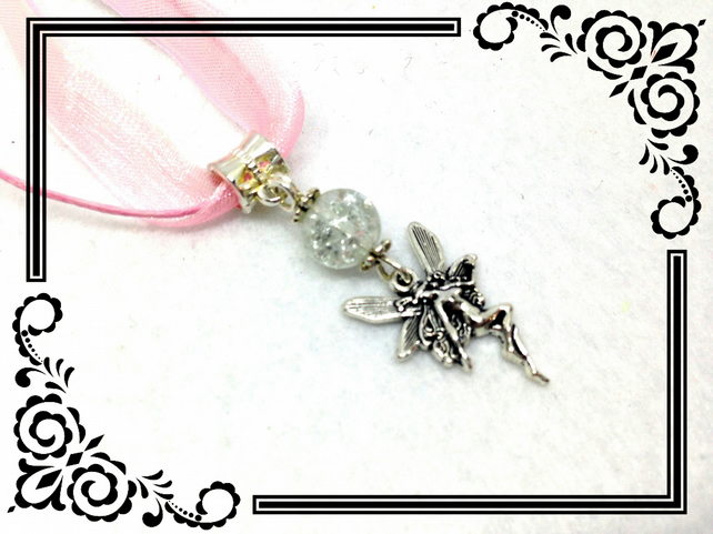 Fairy Tibetan Silver Charm With Glass Bead Pendant Necklace. N93