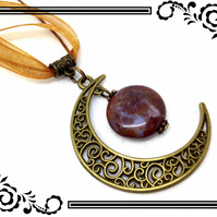 Steampunk Crescent Moon Bronze Tone Charm With Bead Pendant Necklace. SP5