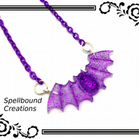 Purple Glitter Resin Small Bat Pendant With Silver Tone Chain Necklace. N76