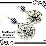 Tibetan Silver Cobweb & Spider Charms With Beads Dangle Earrings. NC12