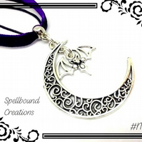 Tibetan Silver Crescent Moon With Bat Charm Pendant Necklace N39