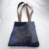 Upcycled denim tote bag with orange top stitching