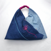 Denim tote bag with pink flower embroidery