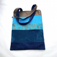 Turquoise and denim blue patchwork tote bag
