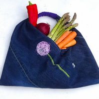 Upcycled denim bag with hand painted and embroidered allium