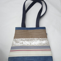 Shoulder bag in denim and upcycled fabric stripes