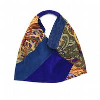 Vintage fabric patchwork tote bag