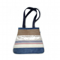 Coast inspired striped patchwork shoulder bag