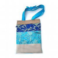 Turquoise and gold patchwork tote bag