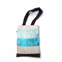 Turquoise, brown and gold patchwork tote bag