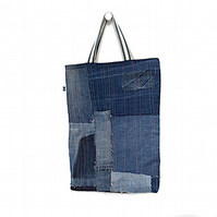 Stonewashed denim tote bag made from upcycled jeans