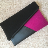Harris Tweed and faux leather fold over clutch bag