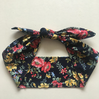 Oriential Blossom Ladies Headband Black Floral Headwrap Ladies Bandana Summer